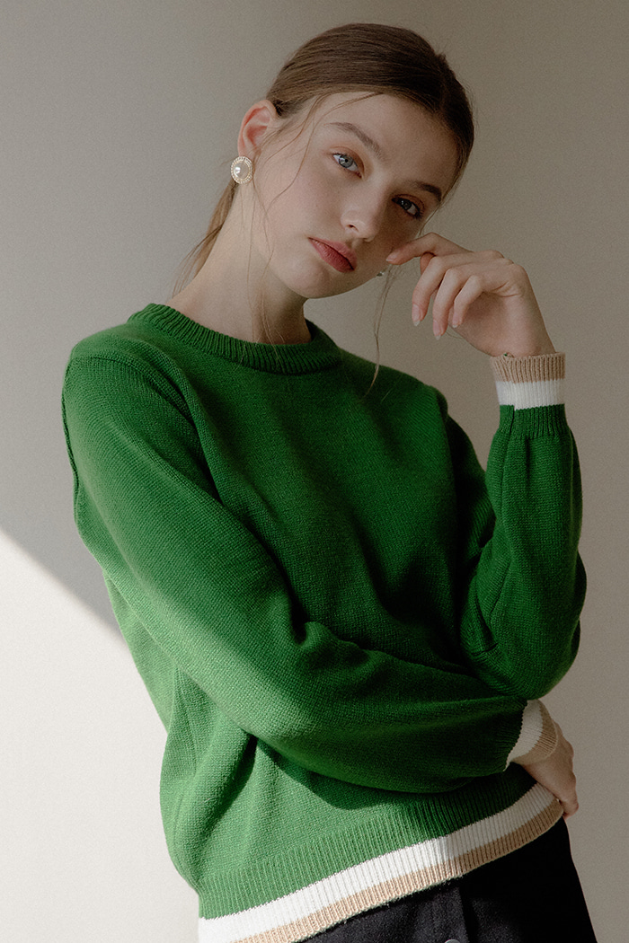 COLOR ROUND KNIT_GREEN
