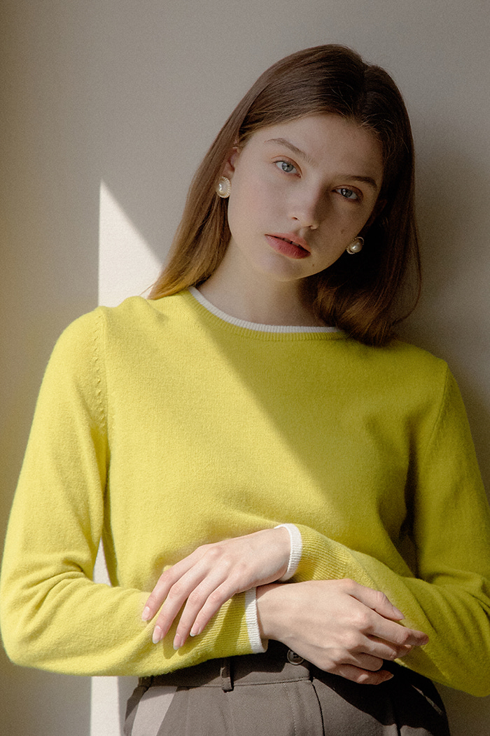 CASHMERE COLOR KNIT_LIME