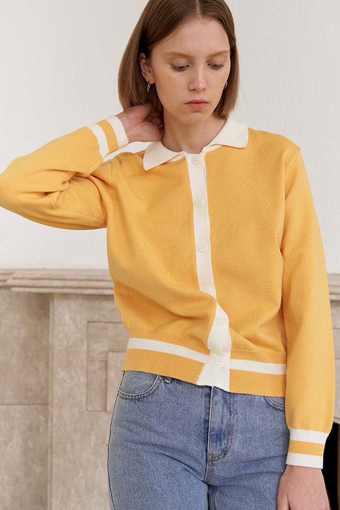 ONE LINE POINT CARDIGAN_YELLOW