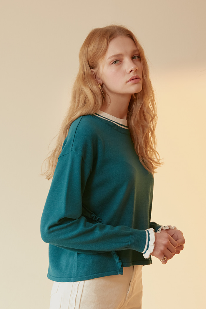 DIAGONAL FRILL KNIT_GREEN
