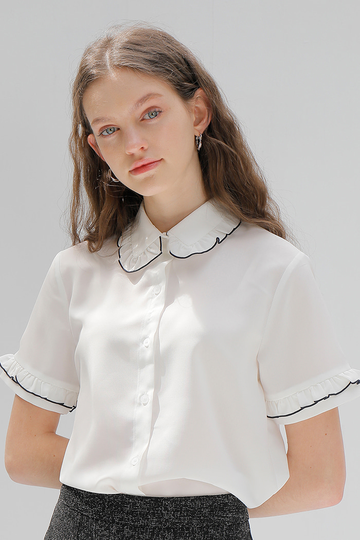FRILL POINT SHIRT_WHITE
