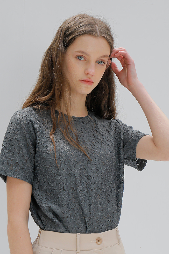 FLOWER LACE T-SHIRT_GREY