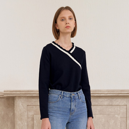 V SHIRRING KNIT_NAVY