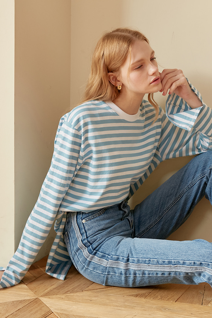 STRIPE SLIT T-SHIRTS_SKY BLUE