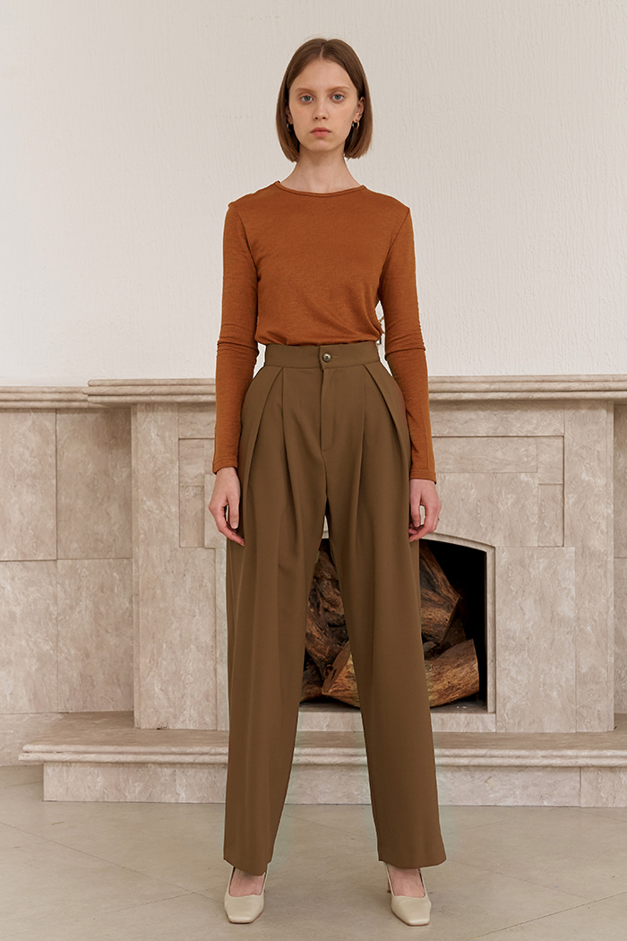 TWO TUCKED PANTS_BROWN