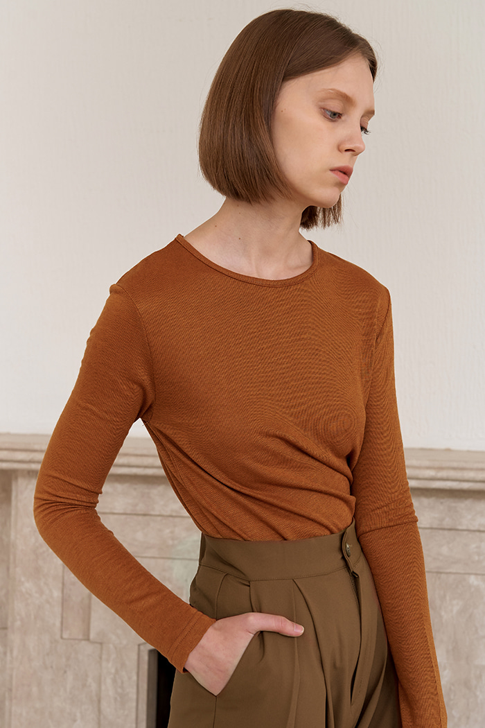 WOOL BASIC T-SHIRTS_BROWN