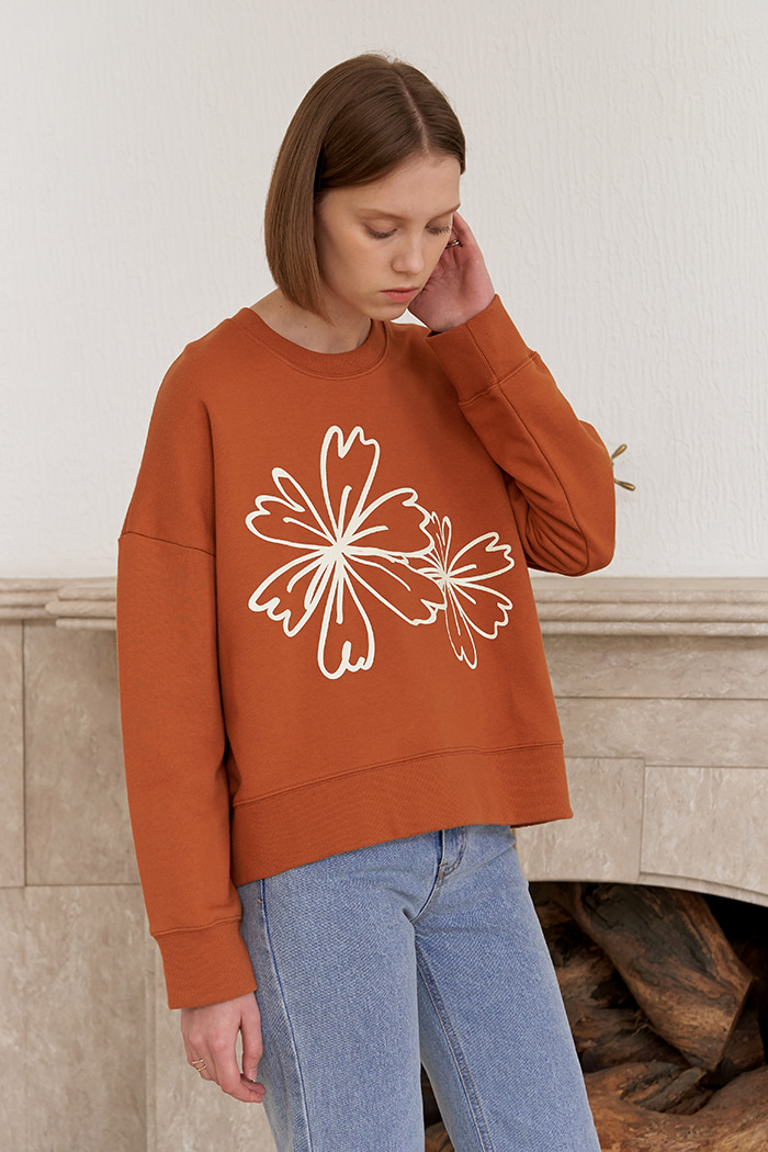 FLOWER PRINT SWEATSHIRTS_BROWN