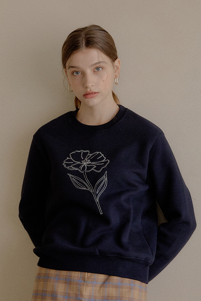 FLOWER LINE SWEATSHIRT_NAVY