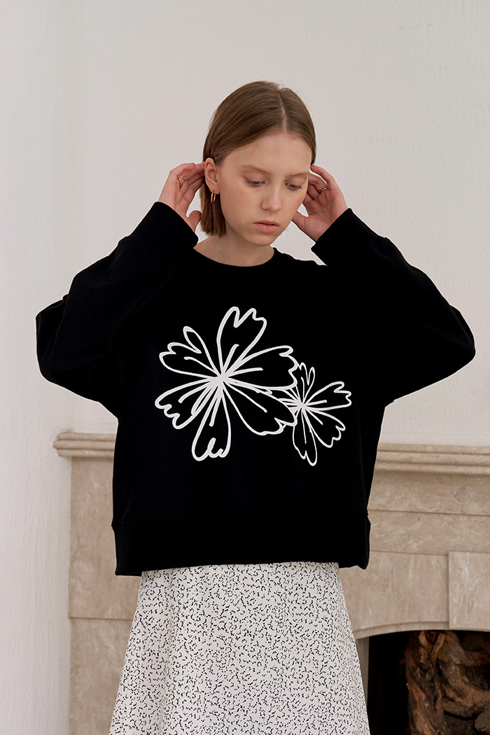 FLOWER PRINT SWEATSHIRTS_BLACK
