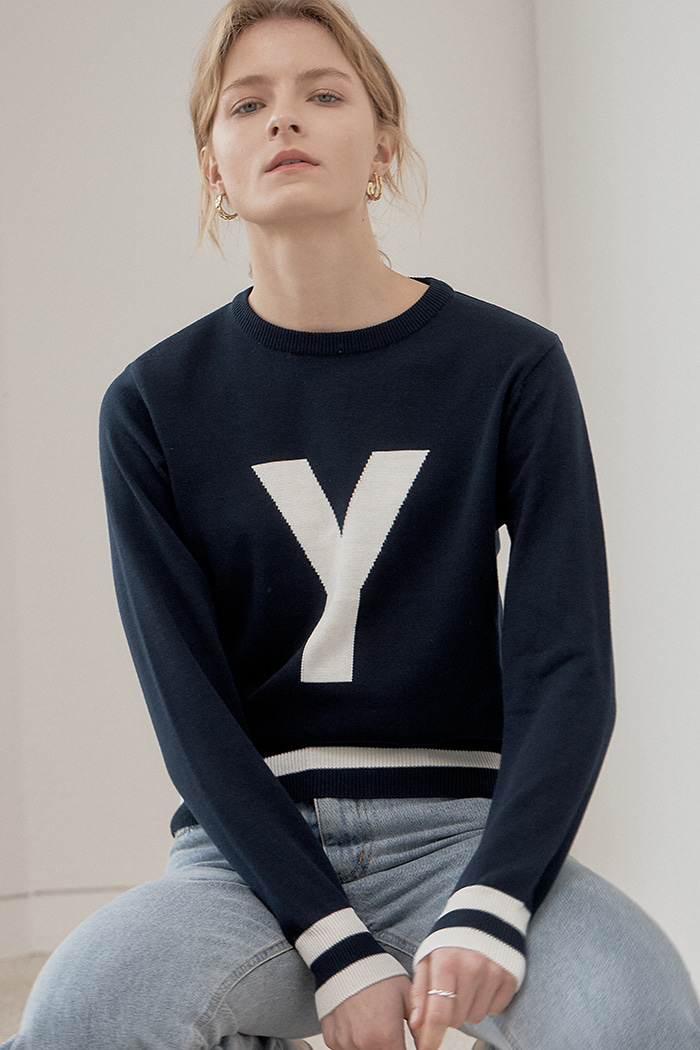 Y LETTERING KNIT_NAVY