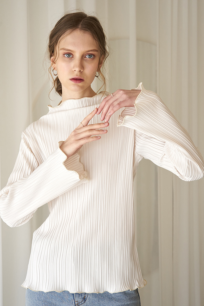 PLEATED T-SHIRT_IVORY