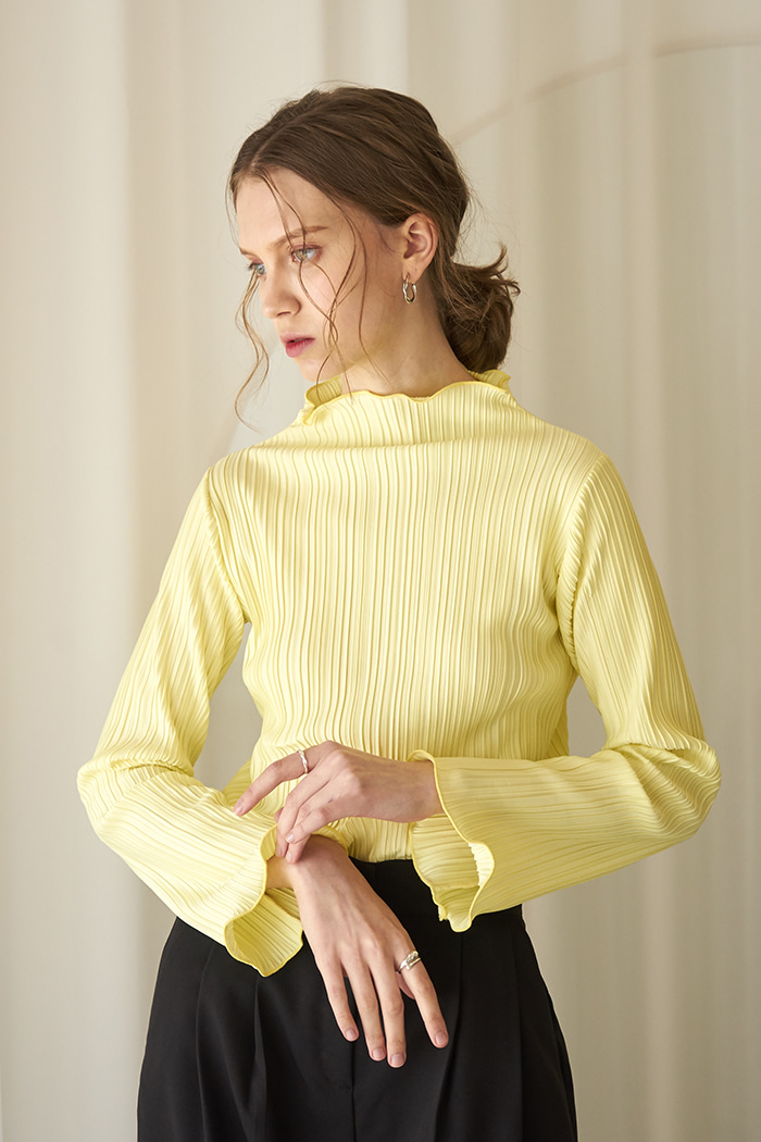 PLEATED T-SHIRT_YELLOW
