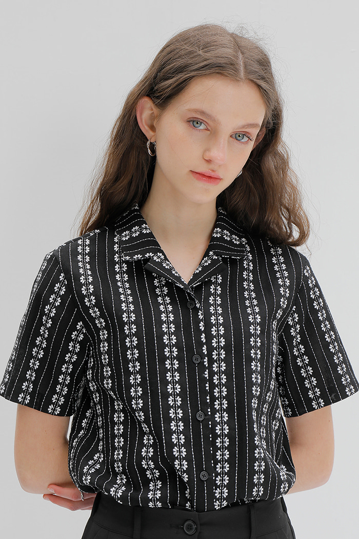 EMBROIDERY COTTON SHIRT_BLACK