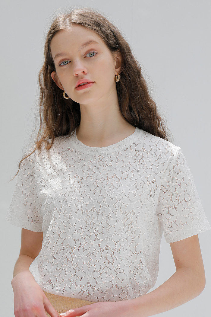 FLOWER LACE T-SHIRT_WHITE