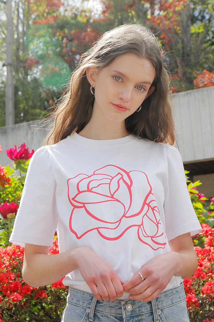 TWO FLOWER T-SHIRT_WHITE
